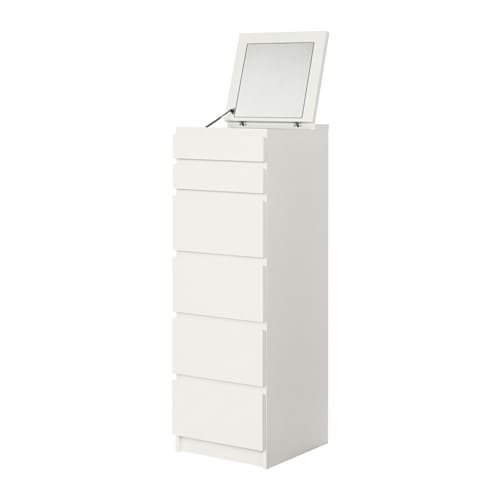 malm commode 6 tiroirs blanc miroir ikea. Black Bedroom Furniture Sets. Home Design Ideas