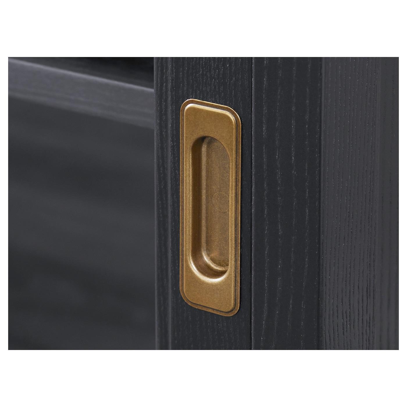 Malsj Banc Tv Portes Coulissantes Teint Noir 160×48 Cm Ikea # Tv Living Avec Portes Coulissante