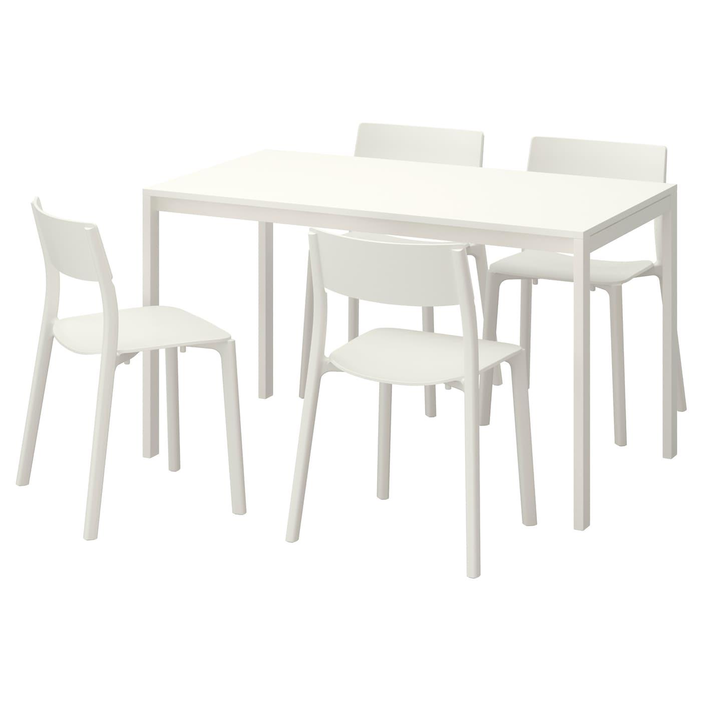 Melltorp janinge table et 4 chaises blanc blanc 125 cm ikea for Table de 4 et 5