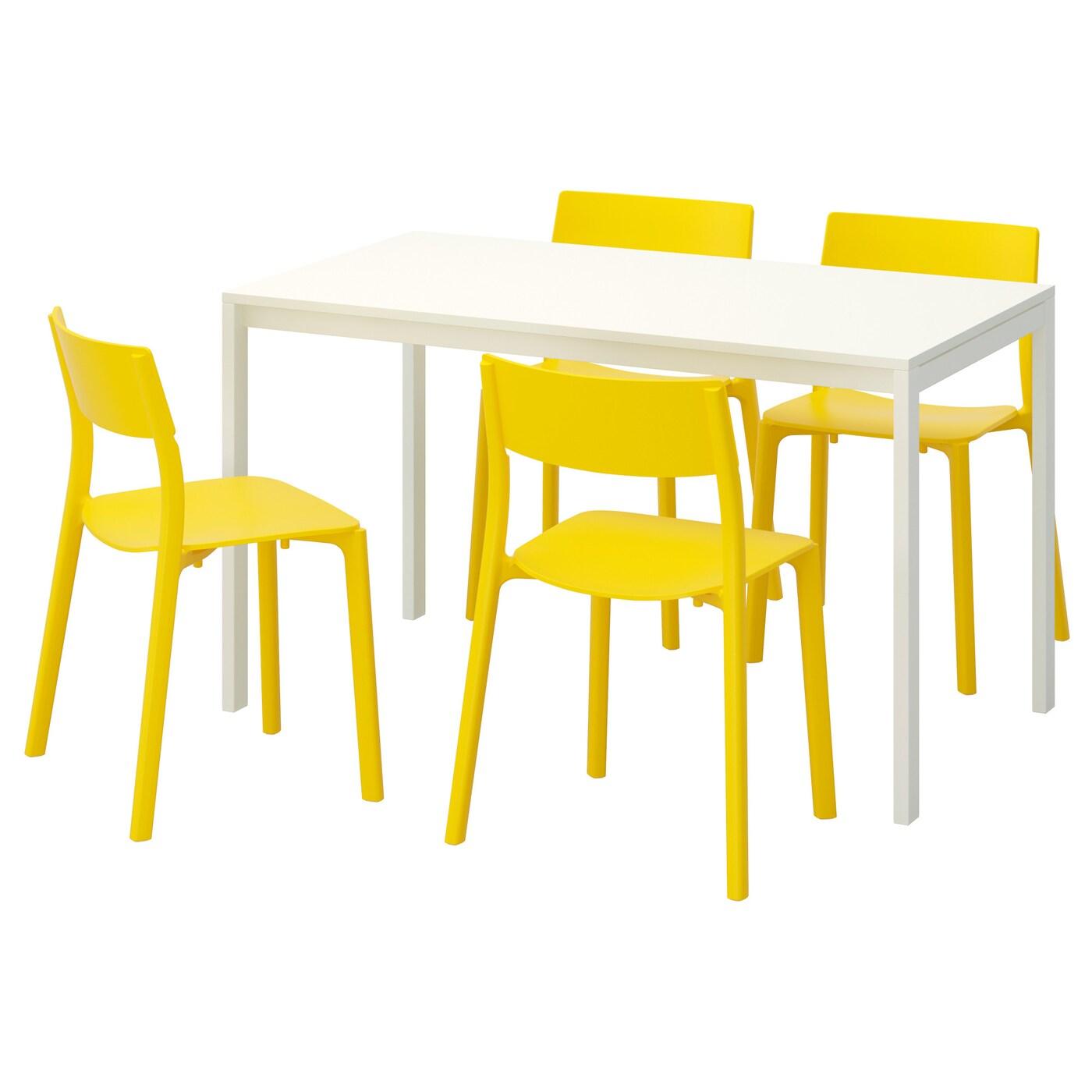Melltorp janinge table et 4 chaises blanc jaune 125 cm ikea for Table et 4 chaises but