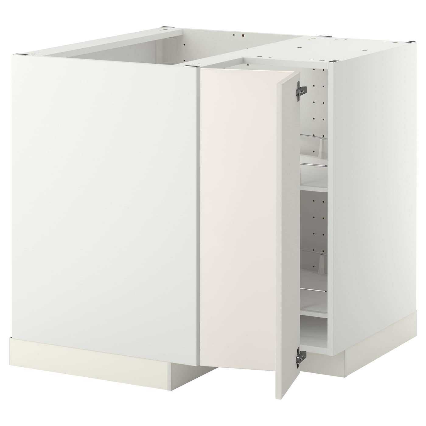 Metod L Ment Bas Angle Rgt Pivotant Blanc Veddinge Blanc 88×88 Cm  # Meuble Cuisine Bas Angle Ikea