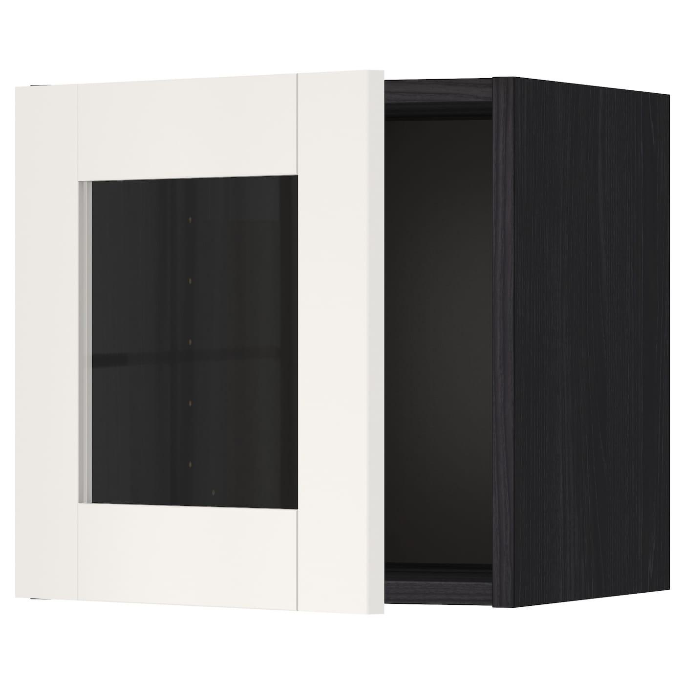 Metod l ment mural porte vitr e noir s vedal blanc 40x40 for Meuble 40x40