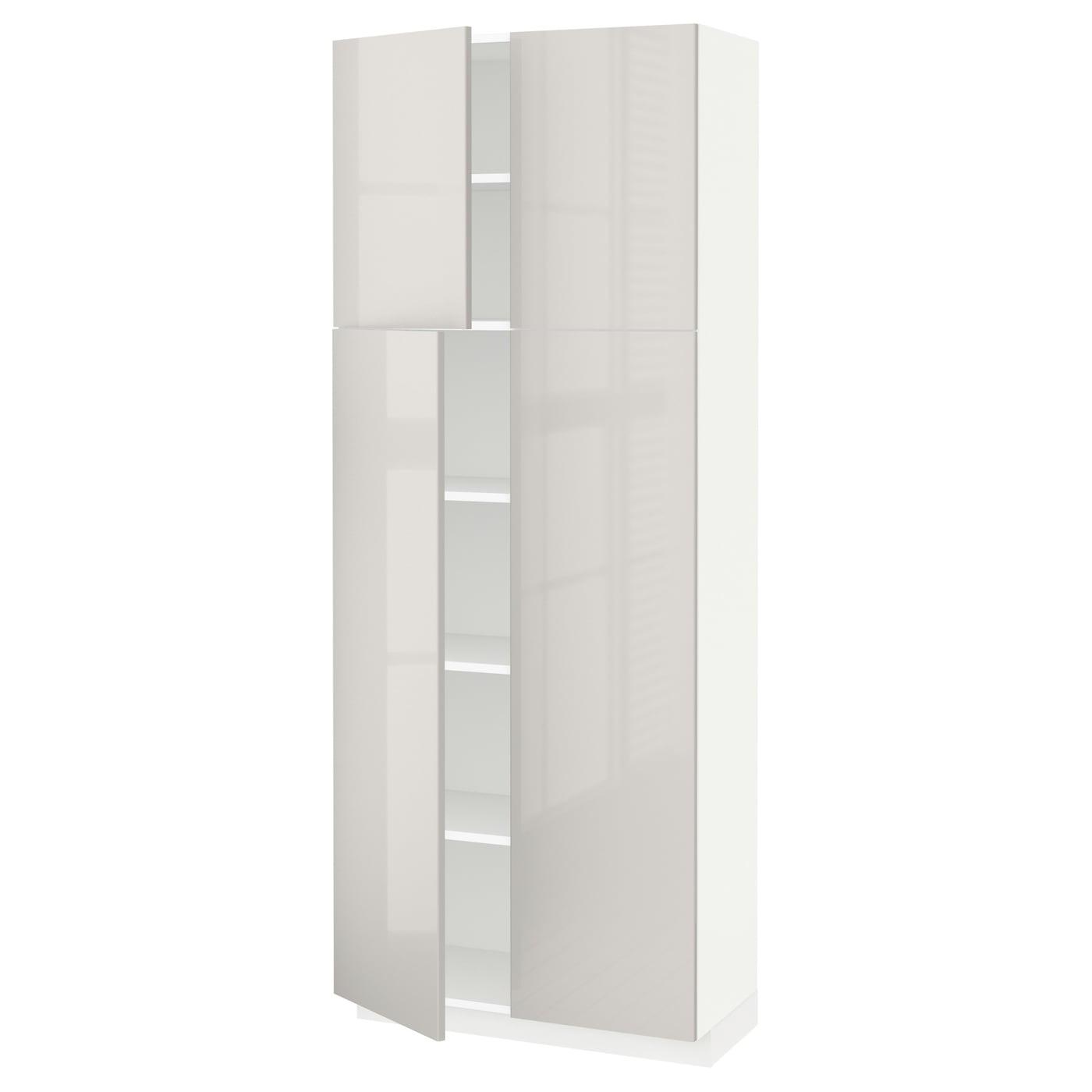 metod armoire avec tablettes 4 portes blanc ringhult gris. Black Bedroom Furniture Sets. Home Design Ideas