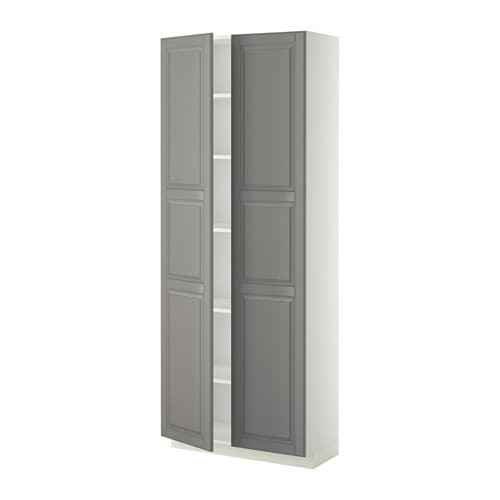 metod armoire avec tablettes blanc bodbyn gris 80x37x200 cm ikea. Black Bedroom Furniture Sets. Home Design Ideas