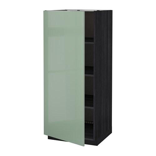 metod armoire avec tablettes effet bois noir kallarp brillant vert clair ikea. Black Bedroom Furniture Sets. Home Design Ideas