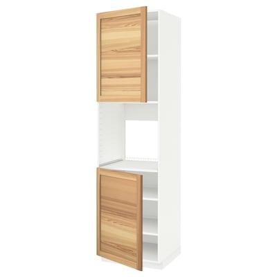 METOD Armoire four + 2 portes/tablette, blanc/Torhamn frêne, 60x60x220 cm