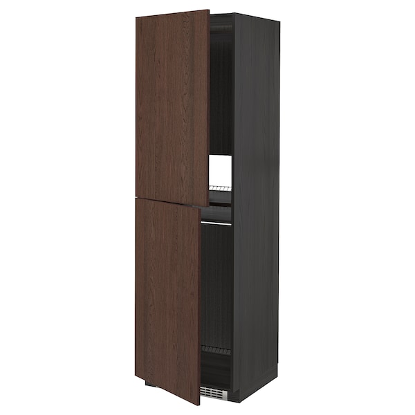 METOD Armoire pour réfrig./congélateur, noir/Sinarp brun, 60x60x200 cm