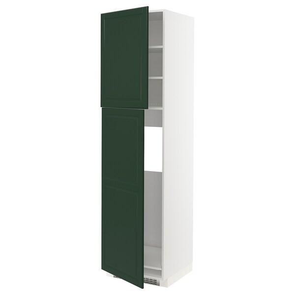 METOD Armoire réfrigérateur + 2 portes, blanc/Bodbyn vert foncé, 60x60x220 cm