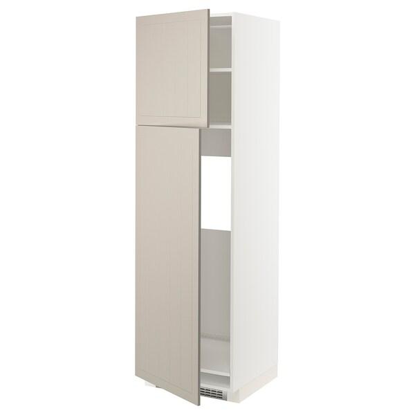 METOD Armoire réfrigérateur + 2 portes, blanc/Stensund beige, 60x60x200 cm