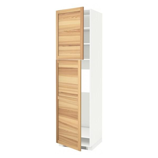 METOD Armoire réfrigérateur + 2 portes, blanc/Torhamn frêne, 60x60x220 cm