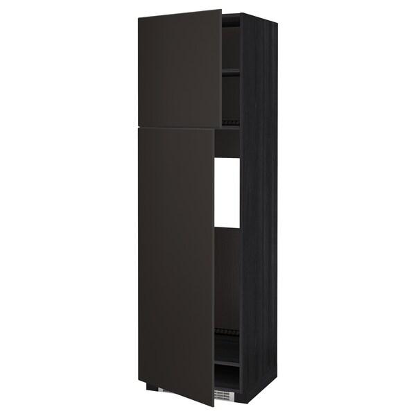 METOD Armoire réfrigérateur + 2 portes, noir/Kungsbacka anthracite, 60x60x200 cm