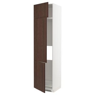 METOD Armoire réfrigérateur/congél+3ptes, blanc/Sinarp brun, 60x60x240 cm