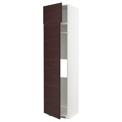 METOD Armoire réfrigérateur/congélateur, blanc Askersund/brun foncé décor frêne, 60x60x240 cm
