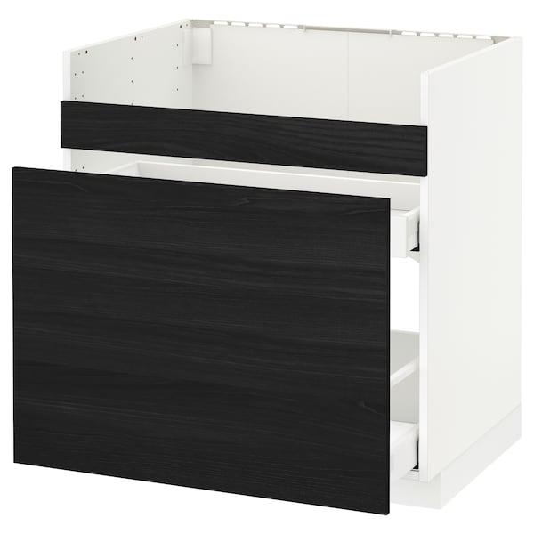 METOD rgt bas pr évier HAVSEN/3 fac/2 tir blanc Maximera/Tingsryd noir 80.0 cm 61.6 cm 88.0 cm 60.0 cm 80.0 cm