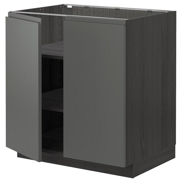 METOD élément bas tablette/2portes noir/Voxtorp gris foncé 80.0 cm 62.1 cm 88.0 cm 60.0 cm 80.0 cm