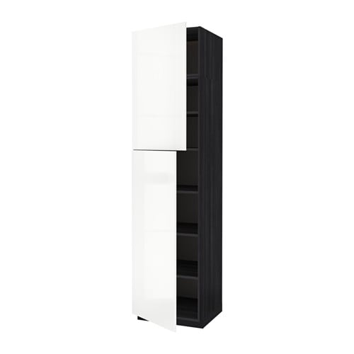 metod l ht tablette 2ptes effet bois noir ringhult brillant blanc 60x60x240 cm ikea. Black Bedroom Furniture Sets. Home Design Ideas
