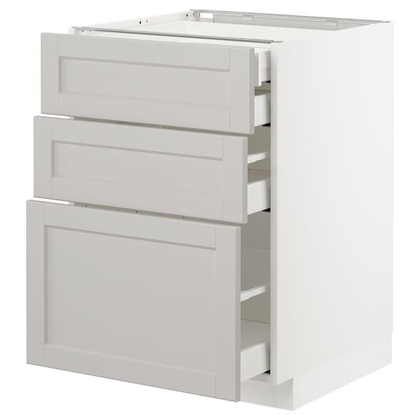 METOD Élément bas 3faces/2tir bs+1moy+1ht, blanc/Lerhyttan gris clair, 60x60 cm