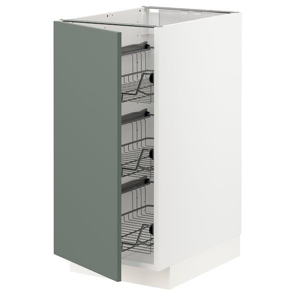 METOD Élément bas avec corbeilles en fil, blanc/Bodarp gris vert, 40x60 cm