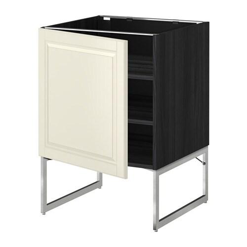 metod l ment bas avec tablettes effet bois noir bodbyn blanc cass 60x60x60 cm ikea. Black Bedroom Furniture Sets. Home Design Ideas