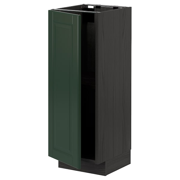 METOD Élément bas avec tablettes, noir/Bodbyn vert foncé, 30x37 cm