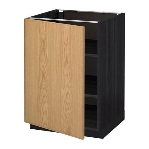 metod l ment bas avec tablettes effet bois noir ekestad ch ne 60x60 cm ikea. Black Bedroom Furniture Sets. Home Design Ideas