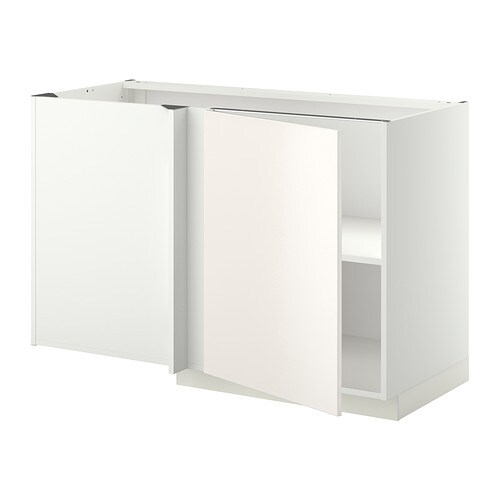 Metod l ment bas d 39 angle tablette blanc veddinge blanc for Meuble bas angle cuisine ikea