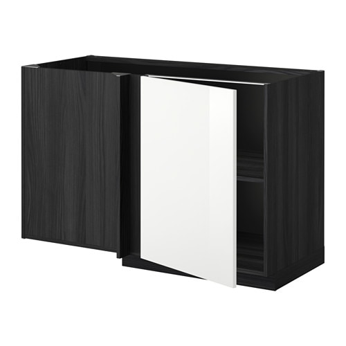 metod l ment bas d 39 angle tablette effet bois noir ringhult brillant blanc ikea. Black Bedroom Furniture Sets. Home Design Ideas