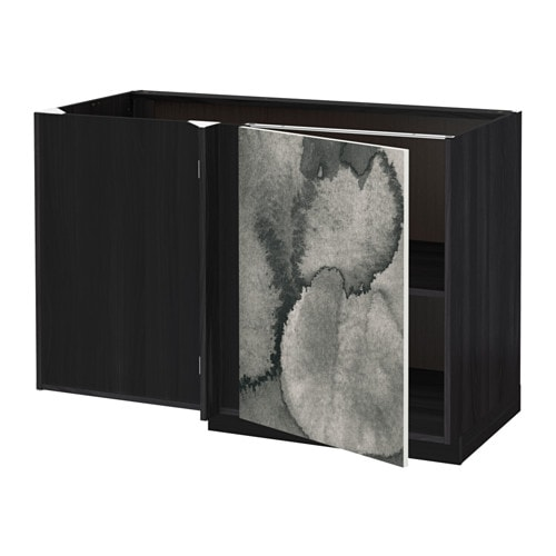 metod l ment bas d 39 angle tablette effet bois noir kalvia imprim ikea. Black Bedroom Furniture Sets. Home Design Ideas