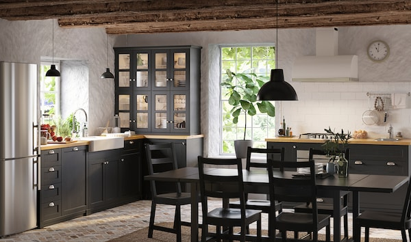 METOD Élément bas table cuisson/3fcs/3tir, blanc/Lerhyttan teinté noir, 60x60 cm