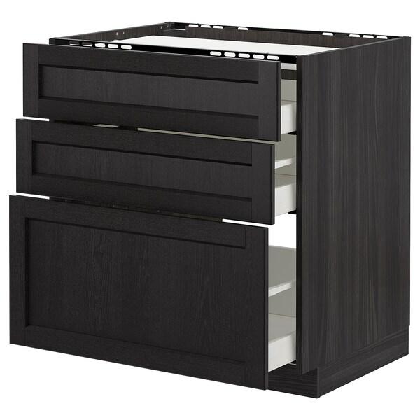 METOD Élément bas table cuisson/3fcs/3tir, noir/Lerhyttan teinté noir, 80x60 cm
