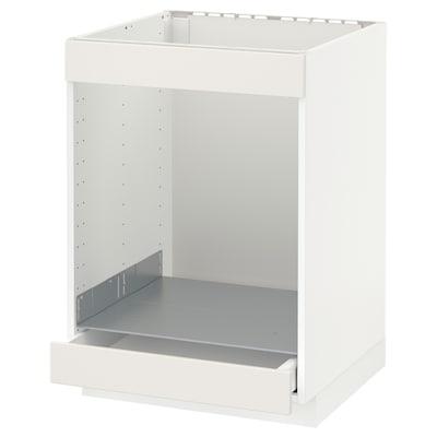 METOD Élément bas table cuisson/four+tir, blanc/Veddinge blanc, 60x60 cm
