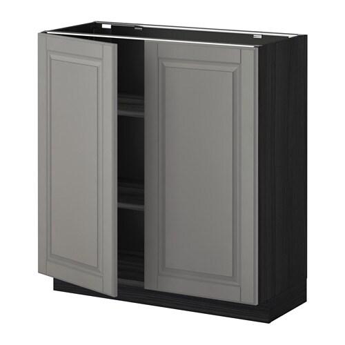 metod l ment bas tablette 2portes effet bois noir bodbyn gris 80x37 cm ikea. Black Bedroom Furniture Sets. Home Design Ideas