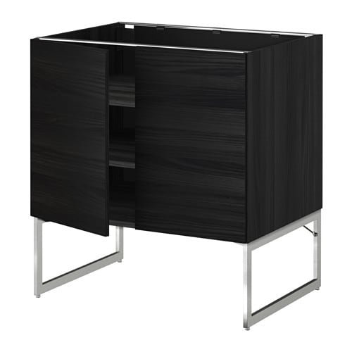 metod l ment bas tablette 2portes effet bois noir tingsryd effet bois noir 80x60x60 cm ikea. Black Bedroom Furniture Sets. Home Design Ideas