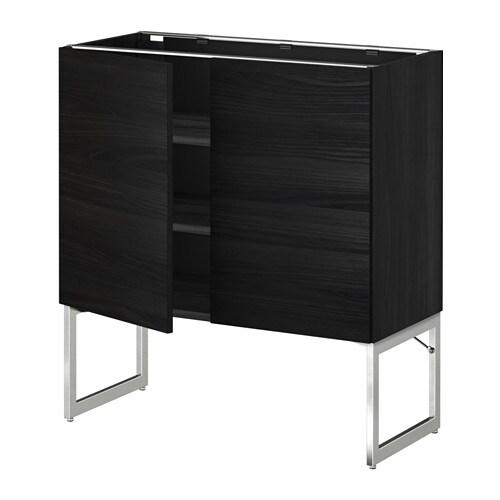 metod l ment bas tablette 2portes effet bois noir tingsryd effet bois noir 80x37x60 cm ikea. Black Bedroom Furniture Sets. Home Design Ideas