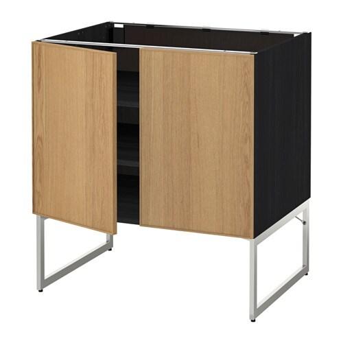 metod l ment bas tablette 2portes effet bois noir ekestad ch ne 80x60x60 cm ikea. Black Bedroom Furniture Sets. Home Design Ideas