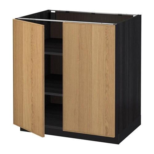 metod l ment bas tablette 2portes effet bois noir ekestad ch ne 80x60 cm ikea. Black Bedroom Furniture Sets. Home Design Ideas