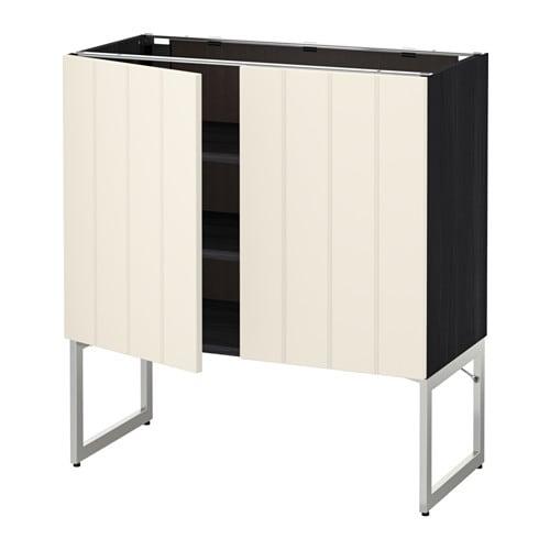 metod l ment bas tablette 2portes effet bois noir hittarp blanc cass 80x37x60 cm ikea. Black Bedroom Furniture Sets. Home Design Ideas