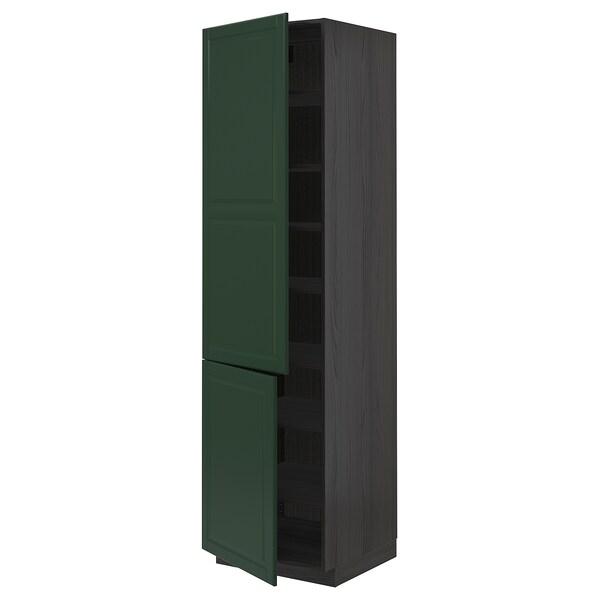 METOD Élément haut tablettes/2portes, noir/Bodbyn vert foncé, 60x60x220 cm