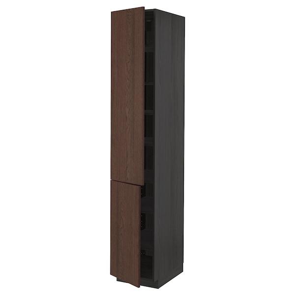 METOD Élément haut tablettes/2portes, noir/Sinarp brun, 40x60x220 cm