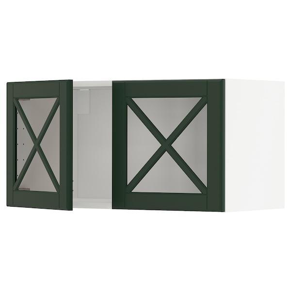 METOD Élément mural 2 portes vitrées, blanc/Bodbyn vert foncé, 80x40 cm