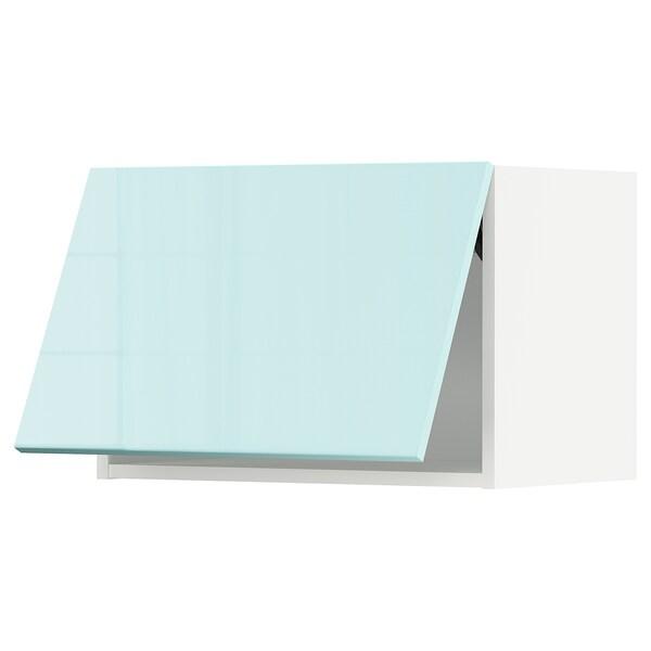 METOD Élément mural horizontal, blanc Järsta/brillant turquoise clair, 60x40 cm