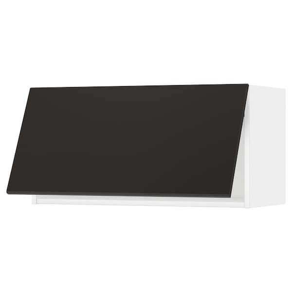 METOD Élément mural horizontal, blanc/Kungsbacka anthracite, 80x40 cm