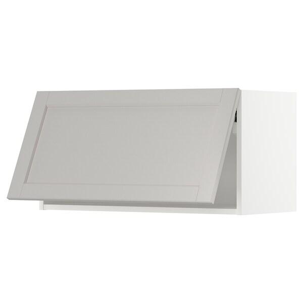 METOD Élément mural horizontal, blanc/Lerhyttan gris clair, 80x40 cm