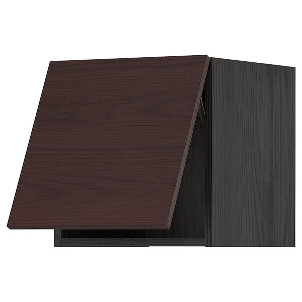 METOD Élément mural horizontal, noir Askersund/brun foncé décor frêne, 40x40 cm