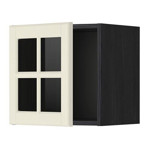 Metod l ment mural porte vitr e effet bois noir bodbyn - Element mural porte coulissante ...