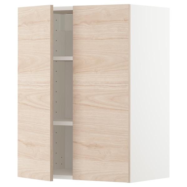 METOD Élément mural tablettes/2portes, blanc/Askersund effet frêne clair, 60x80 cm