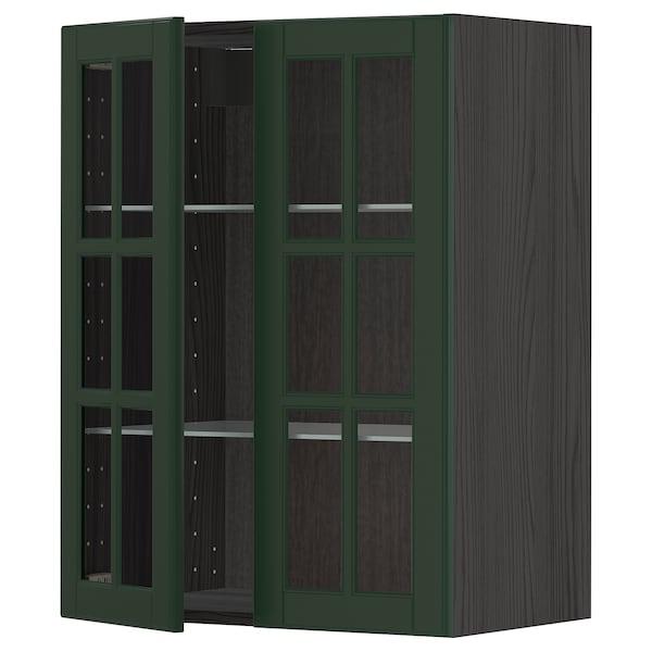 METOD Élément mural+tablettes/2ptes vitr, noir/Bodbyn vert foncé, 60x80 cm