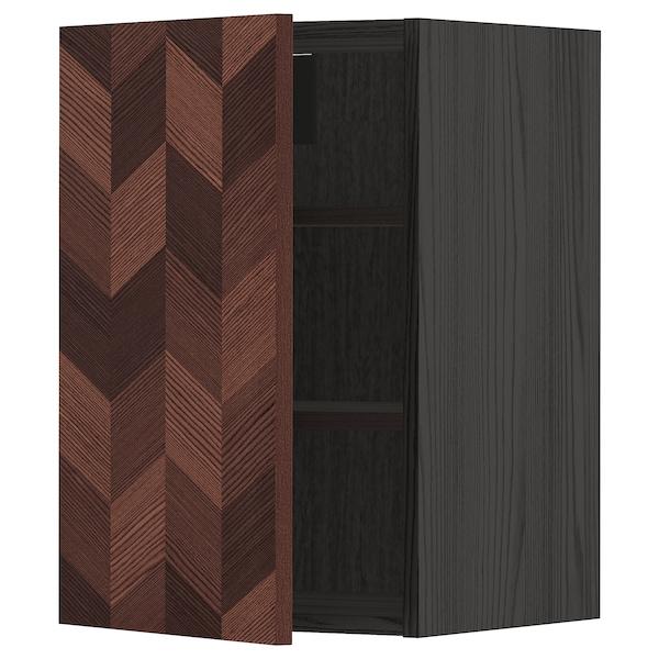 METOD Élément mural + tablettes, noir Hasslarp/brun à motifs, 40x60 cm