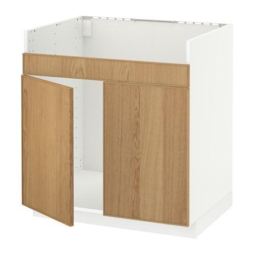 metod l ment pour vier domsj 2 bacs blanc ekestad ch ne ikea. Black Bedroom Furniture Sets. Home Design Ideas