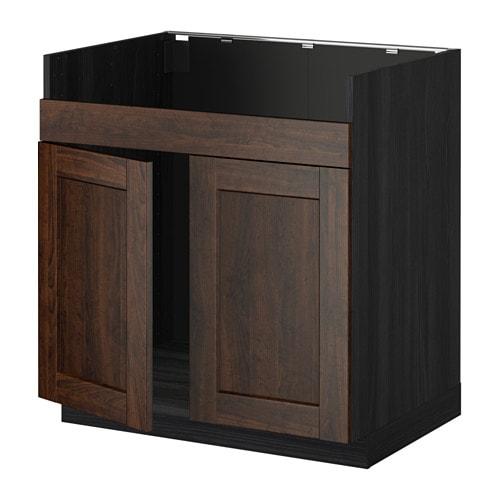 metod l ment pour vier domsj 2 bacs effet bois noir edserum effet bois brun ikea. Black Bedroom Furniture Sets. Home Design Ideas